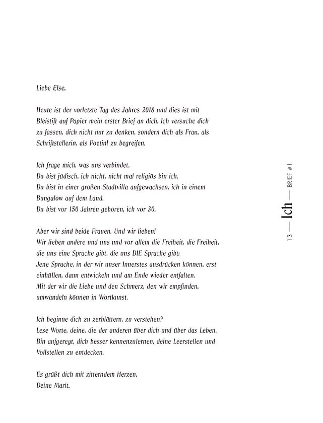 Inhaltsseite Gedichtband Else & Ich
